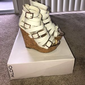 ALDO white and gold wedge heels size 37.5